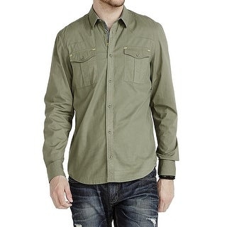 Buffalo David Bitton NEW Green Military Mens Large L Button Down Shirt