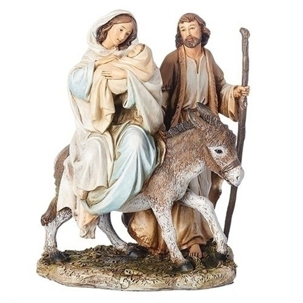 """8.25"""" Brown and Blue Flight Into Egypt Figurines - N/A"""