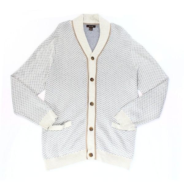 Tasso Elba NEW Gray Mens Size 2XL Shawl Collar Birdseye Pattern Cardigan