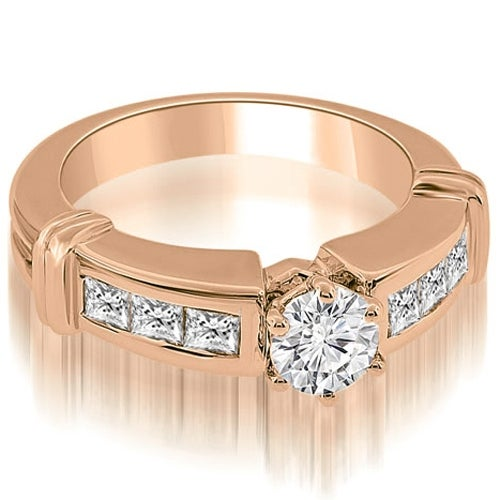1.10 cttw. 14K Rose Gold Vintage Style Round Cut Diamond Engagement Ring