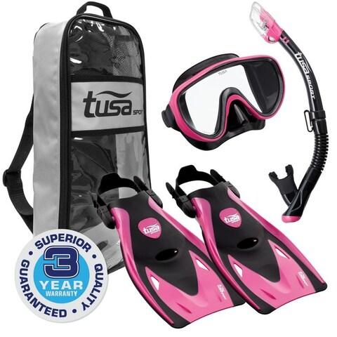 TUSA Sport Adult Black Series Serene Mask, Dry Snorkel, and Fins Travel Set