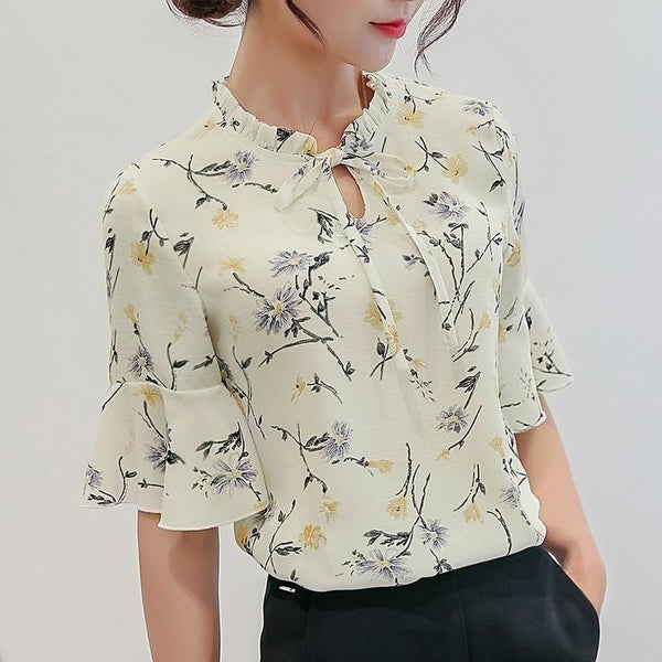 ec50d590e1889a Shop Women Blouses 2018 Chiffon Print Ruffles Sleeved Blusas Work Shirts  For Womens Elegant Blouses Plus Size Female Summer Tops 014 - Free Shipping  On ...