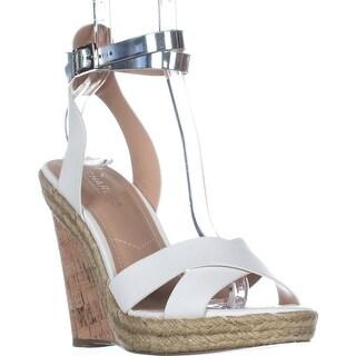 Charles Charles David Brit Wedge Sandals, White/Silver