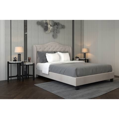 Queen Tufted Platform Wing Bed with Stud Detail-No boxspring required