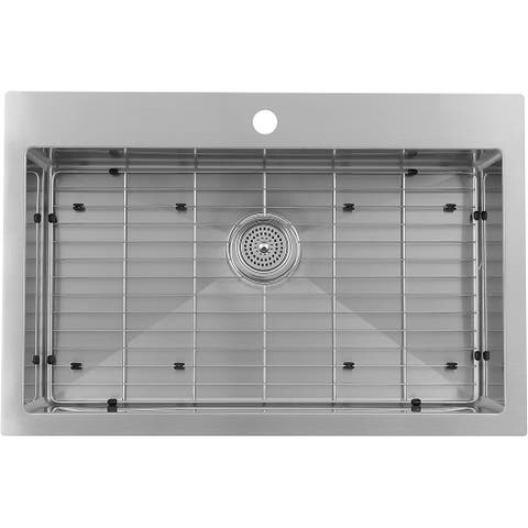 Artika SS3120R10-DY Rectangular 20-Gauge Large Single Bowl Stainless Steel Sink 10-Degree Corners with Grid, Silver