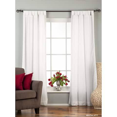 White Tab Top Velvet Curtain / Drape / Panel - Piece