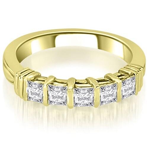0.85 cttw. 14K Yellow Gold Bar Setting Princess Cut Diamond Wedding Band