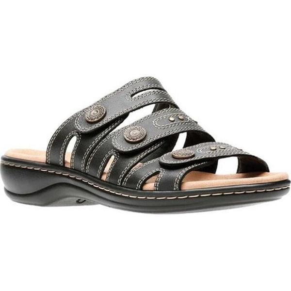 325f940a788 Clarks Women  x27 s Leisa Lakia Slide Sandal Black Full Grain Leather