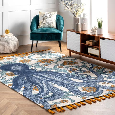 nuLOOM Handmade by Thomas Paul Cotton Printed Octopus Area Rug