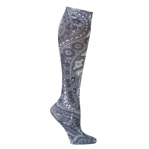 Celeste Stein Women's Mild Compression Knee High Stockings - Black Paisley - One size