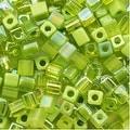 Miyuki 4mm Glass Cube Bead Mix 'Peridot Medley' Green 10 Grams - Thumbnail 0