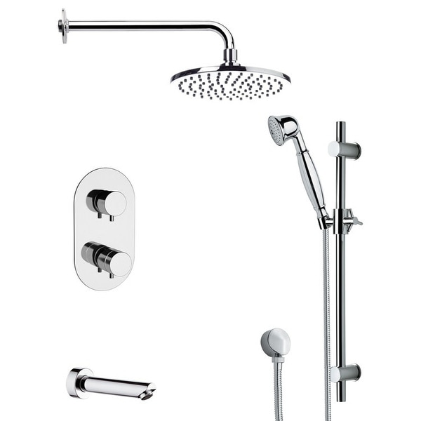 Nameeks TSR9537 Remer Shower Tub and Shower Trim Package with Single Function Rain Shower Head, Hand Shower, Slide Bar, and