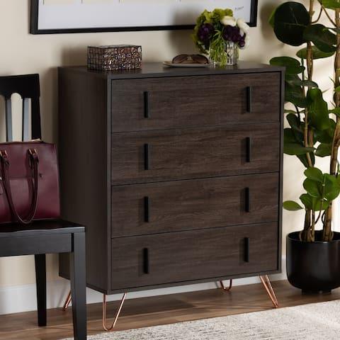 Baldor Dark Brown Wood and Rose Gold Metal 4-Drawer Bedroom Chest
