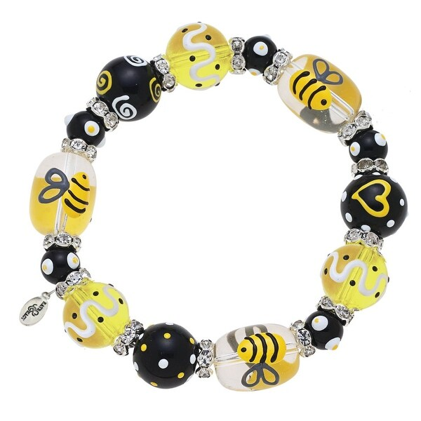Bee Rhinestone Glass Beaded Kate and Macy Stretch Bracelet