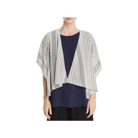 Eileen Fisher Womens Kimono Silk Striped