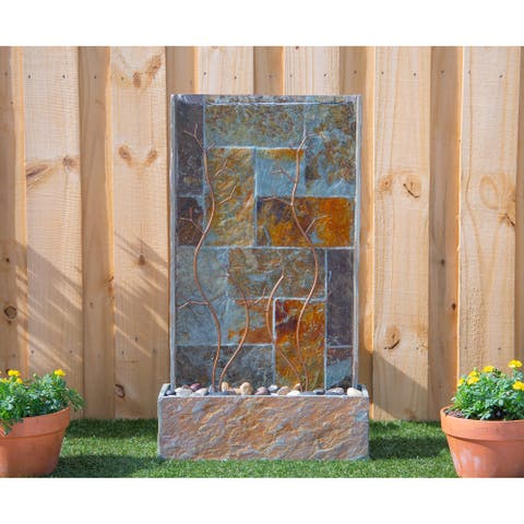 Galene 33-inch Floor Fountain - Rusty Green Slate
