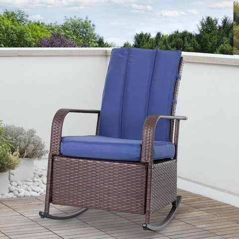 Outsunny Outdoor Wicker Rattan Recliner Rocking Cushioned Chair with Footrest & 135 Degrees of Comfort