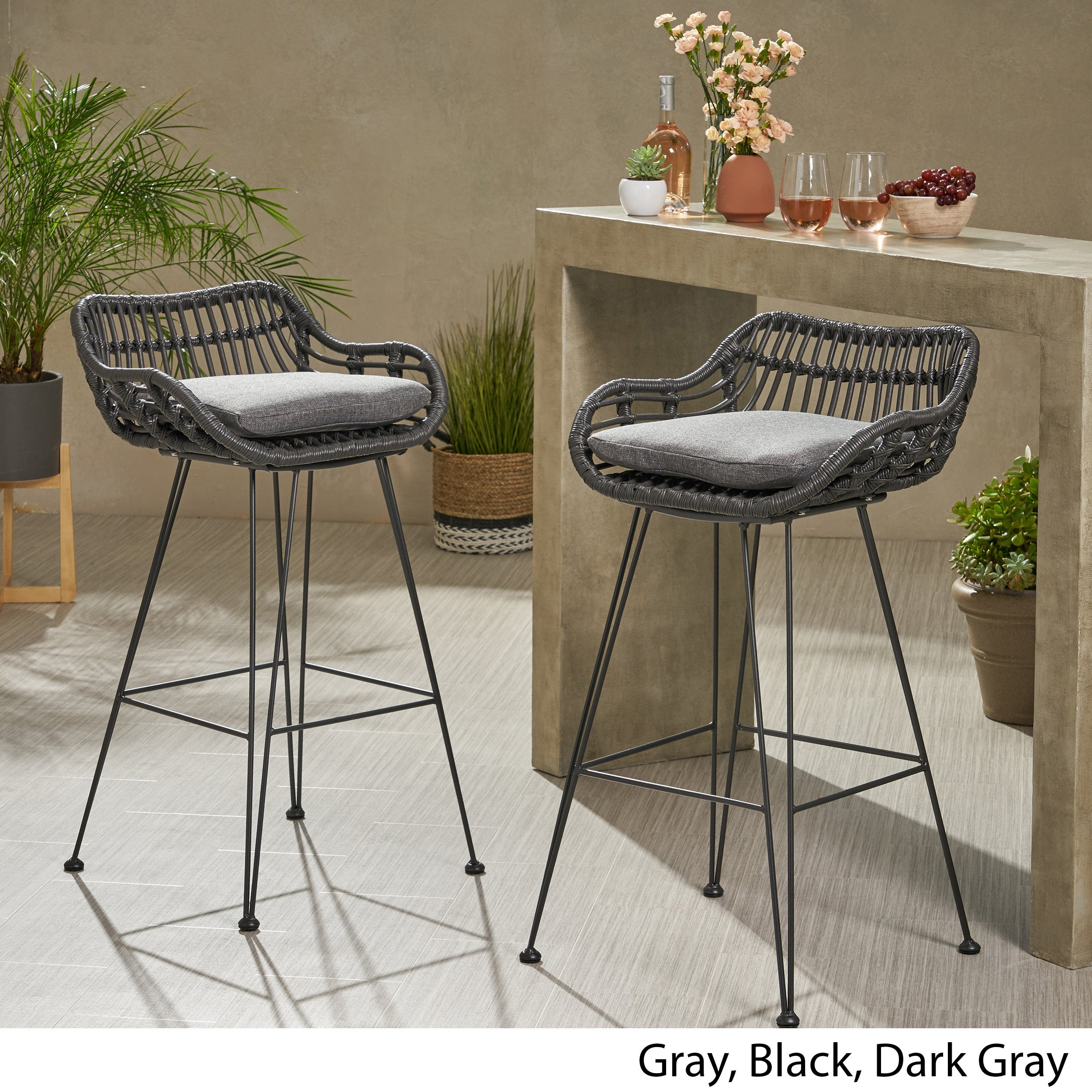 Shop Black Friday Deals On Dale Wicker Bar Stool With Cushion Set Of 2 By Christopher Knight Home On Sale Overstock 28422722
