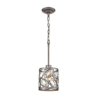 Link to Weathered Zinc 1-Light Mini Pendant With Clear Crystal -Luxe-Glam  Style Pendant Light - 6X7-Inches Similar Items in Pendant Lights