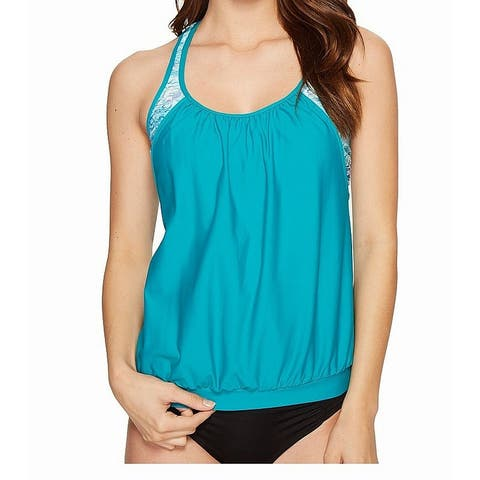 Next by Athena Blue Womens Size 34D Serenity Tankini Top Swimsuit