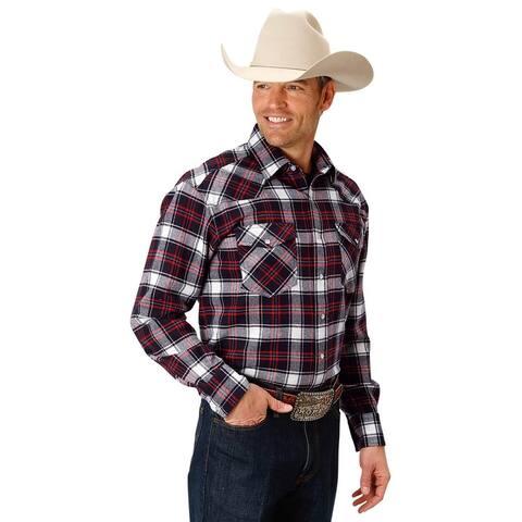 Roper Western Shirt Men Snap Close L/S Plaid Blue