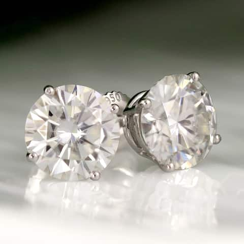 Auriya 2ctw Round Moissanite Stud Earrings Platinum 4-Prong Basket - 6.5 mm