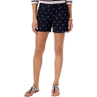 Tommy Hilfiger Womens Casual Shorts Embroidered Flat Front