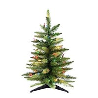 """24"""" Pre-Lit Artificial Miniature Christmas Tree with Multi-Colored Incandescent Lights - green"""