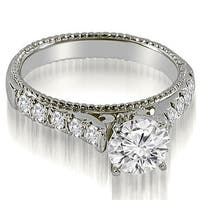 1.00 cttw. 14K White Gold Vintage Cathedral Round Cut Diamond Engagement Ring