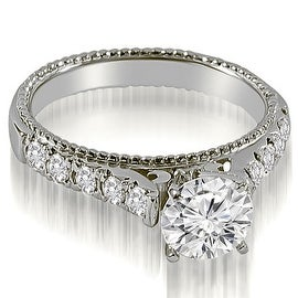 1.50 cttw. 14K White Gold Vintage Cathedral Round Cut Diamond Engagement Ring