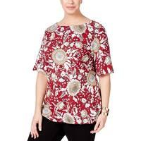 Karen Scott Womens Plus Casual Top Printed Zip-Shoulder