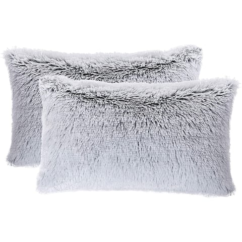 "Cheer Collection Set of 2 Shaggy Long Hair 12""x20"" Throw Pillows"