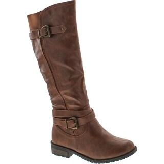 Forever Mango-24 Women's Shaft Side Zipper Knee High Flat Riding Boots