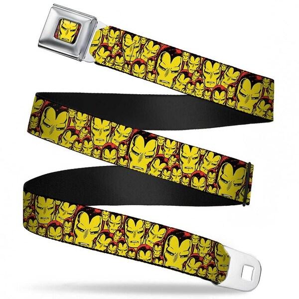 Marvel Comics Iron Man Face Full Color Red Yellow Iron Man Face Close Up Seatbelt Belt