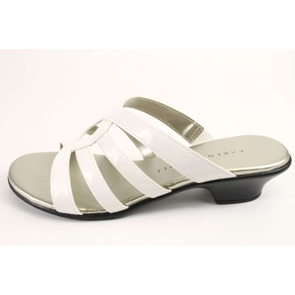 Karen Scott Womens Emet Open Toe Casual Slide Sandals White Size 70