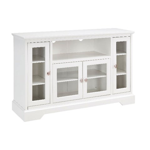 "WE Furniture 52"" Wood Highboy TV Media Stand Storage Console - White"