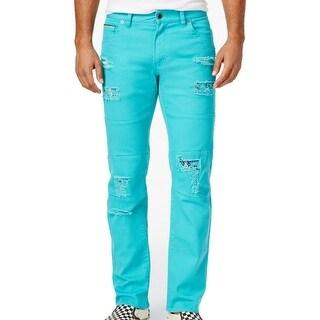 LRG NEW Blue Mens Size 32x33 Distressed Slim Fit Tapered Moto Jeans