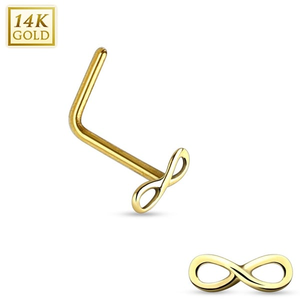 "14Kt Gold Infinity Sign End L Bend Nose Ring - 20GA - 1/4"" Length (Sold Ind.)"
