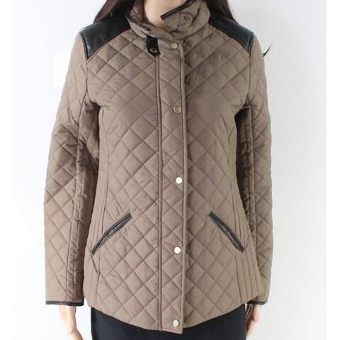 Lauren by Ralph Lauren Brown Women Size XS Quilted Buttoned Jacket