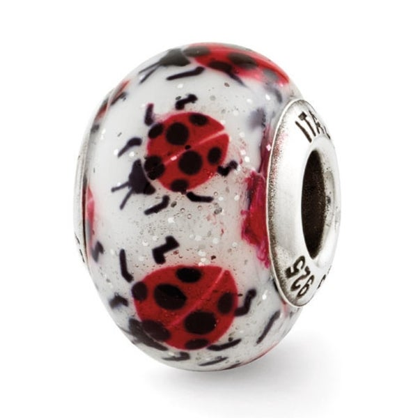 Italian Sterling Silver Reflections Lady Bugs Bead (4mm Diameter Hole)