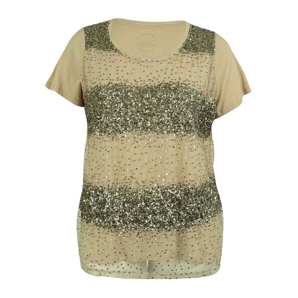 3529c4c3c6b Shop INC International Concepts Women's Sequin Short Sleeve Tee - Vendor  Neutral - 2X - Free Shipping On Orders Over $45 - Overstock.com - 14729642