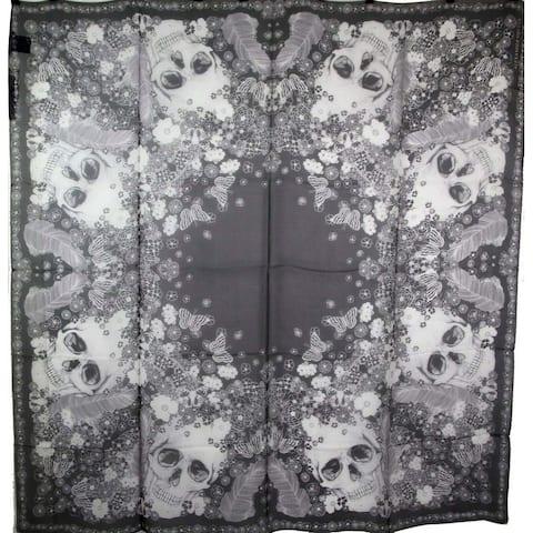 Alexander McQueen Women's Black / Ivory Silk Muse Skull Print Shawl 530324 1078 - One Size