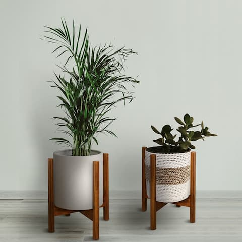 Mid-Century Modern Wood Plant Display Stand, Plant and Pot NOT Included