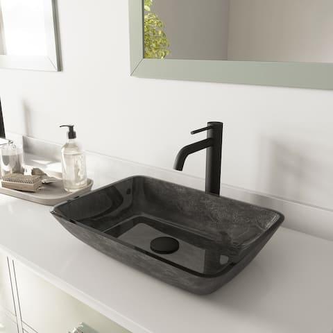 VIGO Rectangular Gray Onyx Glass Vessel Bathroom Sink and Lexington cFiber Vessel Faucet Set in Matte Black