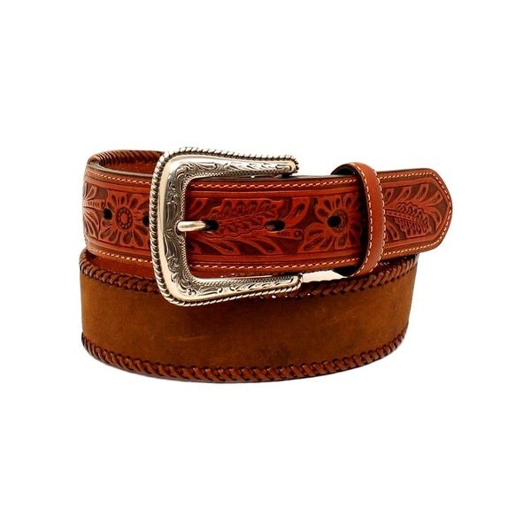 Nocona Western Belt Mens Lace Edge Tooled Distressed Brown