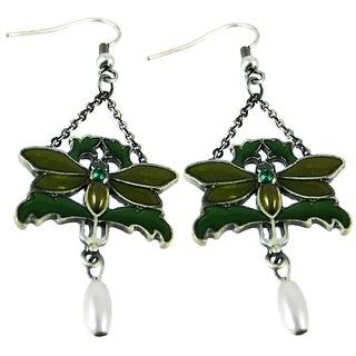 Solid Pewter & Enamel Butterfly Dangle Earrings