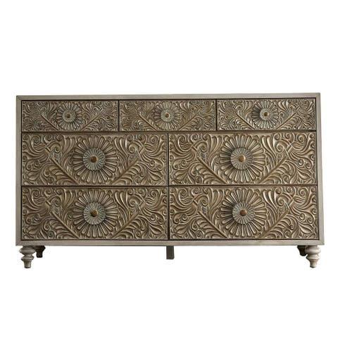 Dresser with Polyresin Floral Design, Ivory