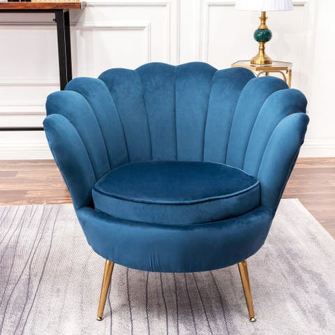 Modern Scalloped Back Accent Barrel Chair