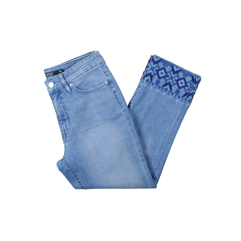 c297ccca9 Lauren Ralph Lauren Womens Cropped Jeans Embroidered Straight