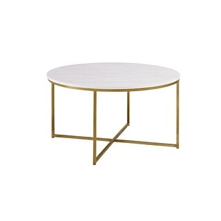 """Delacora WE-BDF36ALCTM  Chloe 36"""" Diameter Faux Marble Top Coffee Table with Gold Metal Base - Marble with Gold"""